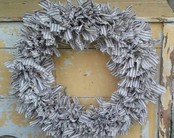 Farmhouse Blue Ticking Wreath - Rag Wreath - Handmade Wreath - Farmhouse Decor - Farmhouse Chic