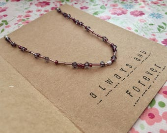 Morse Code Jewellery, Morse Code Necklace (Purple, Swarovski, Always and Forever)