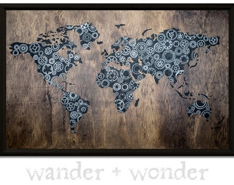 Large Artistic World Map on Canvas or Pin Board - Rustic Bike Gears