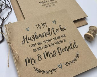 Personalised Wedding Day Groom Husband-to-be Card | Evie Range