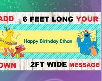 Sesame Street banner, Birthday banner, Sesame Street, Big Bird, Elmo, Oscar, Cookie Monster, Birthday