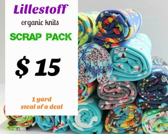 SCRAP PACK - PRINTS - organic jersey knit scrap pack - all fabrics are Lillestoff -  includes four to five pieces - Awsome Deal!!