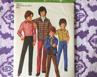 """70s Boys' Jacket, Shirt and Straight Fit Pants Pattern Simplicity 9595 Vintage Sewing Pattern Size 6 Chest 25"""""""