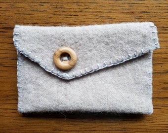 Upcycled Wool Bag with Vintage Wood Button, hand stitched
