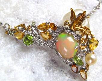 Natural Big Fire Genuine Opal Handmade Silver Bird Necklace, Fine Jewelry