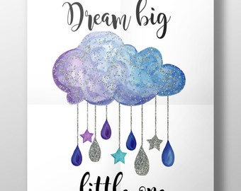 Dream big little one print, nursery decor, dram big quote print, quote print, typography print, cloud print, new baby gift, christening gift