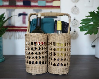 Vintage Natural Wicker Picnic Basket with Two Wine Bottle Holders