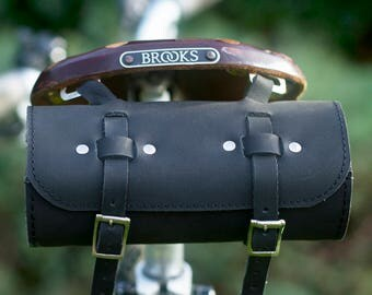 Bicycle Roll Tool Bag Natural Leather Saddle Bag