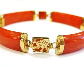 Red Jade 14K Bracelet