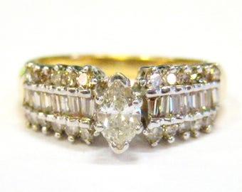 Marquise Diamond 14K Gold Ring - X3178