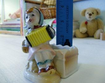 Sweet Little Girl w/ her Squeeze box, Vintage Nursery Decor