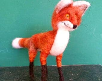 Needle felted fox based on wire collectible gift
