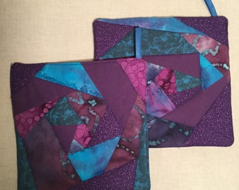 Crazy Quilted Purple  Pot holders