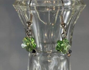 Green Flower drop fishhook earrings