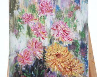 Original Oil Painting on Canvas. Flowers Painting. Dahlias Painting. Contemporary Fine Art.