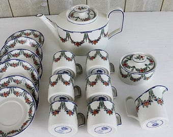 RARE Tea Set for Adults, Vintage Villeroy and Boch, Tea Pot Set, Tea Set Vintage, Tea Pot Ceramic Cups and Saucer Set, Coffee Set - D22
