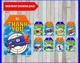 80% OFF SALE Printable Nerf Thank you Tags instant download, Nerf party Tags, Printable Nerf Gift Tags