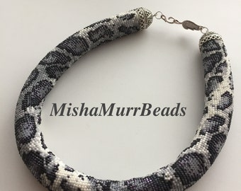Beaded Necklace Snow Leopard