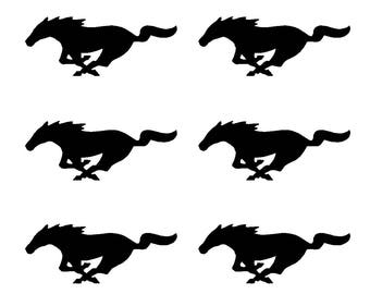 "6 Ford Mustang Vinyl Decals GT Horse Pony Logo Small 2"" Stickers"
