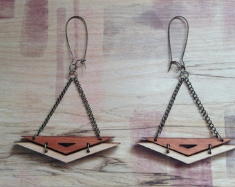 Wood Earrings - Mahogany and Pine Chevron 2 piece