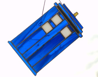 "Drunk TARDIS Stained Glass Sun Catcher (""Go Home TARDIS You Are Drunk"" Doctor Who Meme/Parody)"