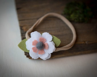 READY TO SHIP///Pink and White Felt Flower Headband