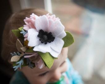 """Felt Flower Headband """"White Forrest"""""""