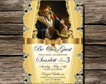 Beauty and the Beast Birthday Invitation Personalized Customized DIY Printable Invite Digital Download 5x7 Belle Disney Gold