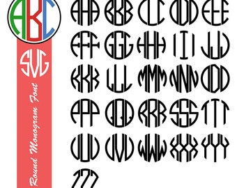 3 Letter Round Monogram Font, Round Monogram SVG, for Cricut Design and Silhouette Studio, Embroidery Fonts, Vector monogram