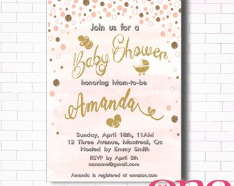 Baby shower invitation Printable, Personalised, Gold Confetti , Gold elements, Gender neautral, Digital file