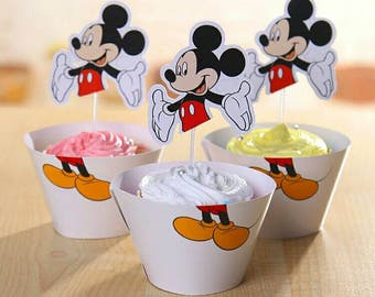 Mikey Mouse Cupcake or Muffin Toppers and Wrappers. Birthday cake decorations.