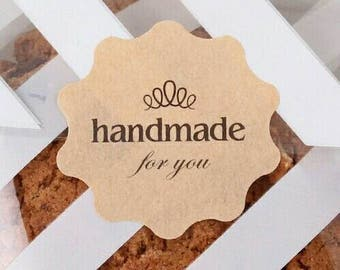 60 Handmade For You Kraft flower decorative stickers for envelopes, gift bags, packaging labels