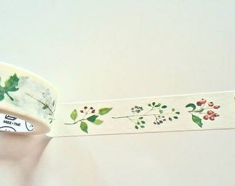 Wild Berries and Leaves Japanese Washi Tape. Scrapbook and Stationery Tape. Pretty Tape.