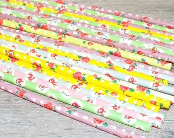 25 Vintage Rose Garden Paper Drinking Straws. Party and favor straws.