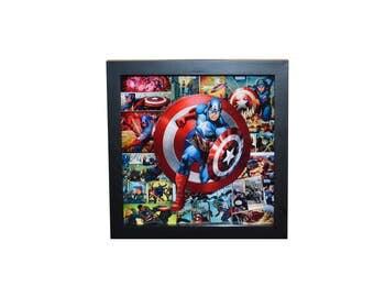 Captain America 3D Shadow Box Art