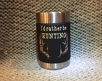 Black stainless steel can cooler with antlers.  Hunting drink holder.  I'd rather be hunting camouflage