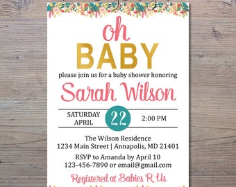 Oh Baby Shower Invitation, Floral Baby Shower Invitation, Oh Baby, Floral Shower Invite, Baby Shower Invitation