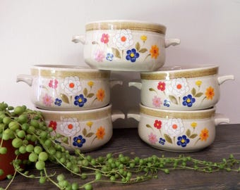 Vintage Stoneware Floral Bowls by Montgomery Ward, Fiesta, Japan, Set of 5, Soup Bowls, Bright, Boho Kitchen, Bohemian