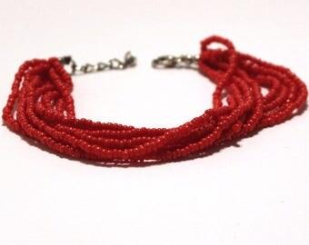 Red Beaded Multi Strand Mayan Bracelet - Natural Artist