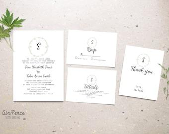 Sage Green Wedding Invitation - Digital Download - Wedding Printable - Romantic Wedding - Sage Wedding