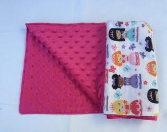 COZY - Customize Me! Princess Blanket with Pink Minky Dot Fleece, Girl Baby Blanket