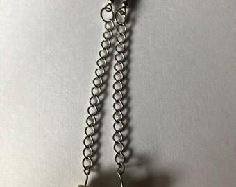 Long Chain Skull Drop Earrings