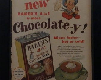 Bakers 4 in 1, Instant Chocolate, Vintage, Life Magazine, 1952, Retro Kitchen Decor, Chocolate Lovers