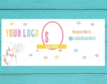 Unicorn  Cash gift certificate cash, Customized  Mulah, Unicorn  cartoon  marketing- Pop up boutique- DIGITAL Download