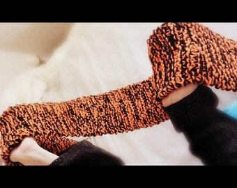 Orange Black Hand-Knitted Scarf