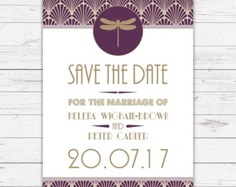 ArtDeco Save the Date Cards - beautifully designed, personalised and customisable