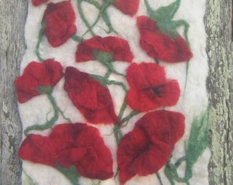 """painting in felted wool """"fields of poppies"""""""