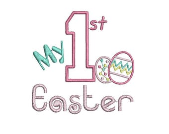 First Easter Embroidery Design, 1st Easter Embroidery Design, Baby Embroidery Design, Girl embroidery design, Bunny embroidery design