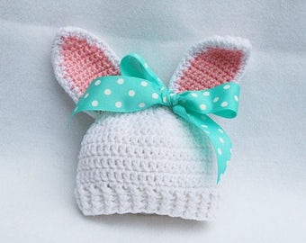 Crocheted bunny hats