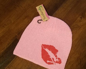 Womens Beanie with lips and skull